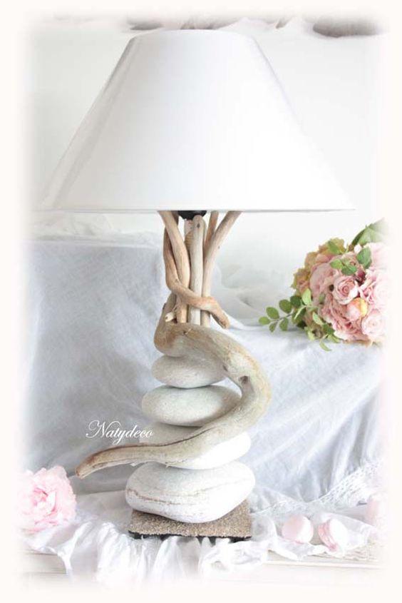 Lampe Bois Flotte Galet : Nouvelle Cr?ation NATYDECO Lampe en bois et flott? et galet blanc