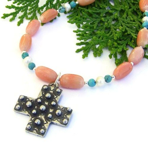 #Spanish #Cross #Necklace #Handmade Oxidized Pewter Coral Turquoise #Pearls @shadowdog