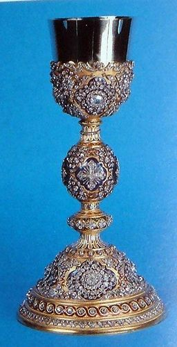 This chalice was a gift from Sultan Absul Medji to Pope Pius IX in 1846.: