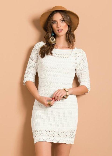 Vestido Tricô Decote Canoa Branco (crochê) Hippie Chic
