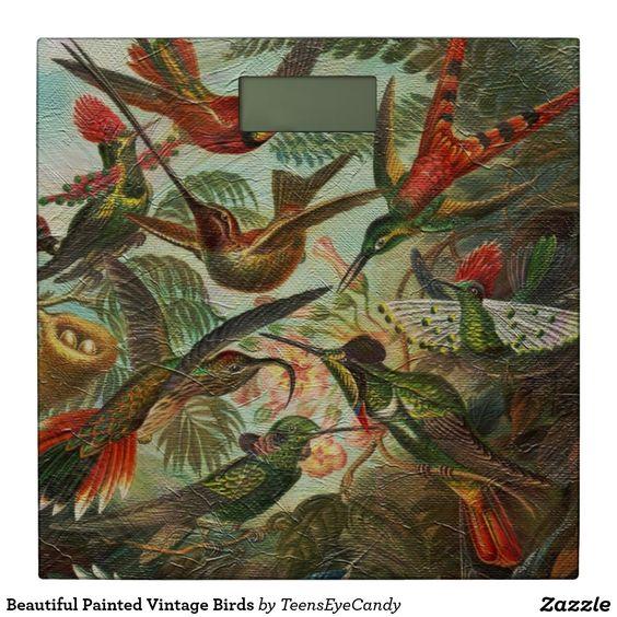 Beautiful Painted Vintage Birds Bathroom Scale