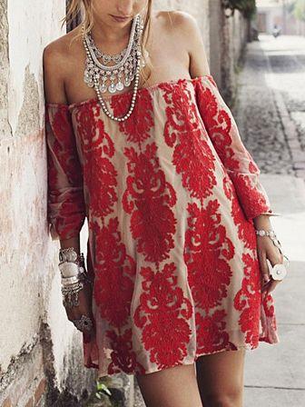 Vestido Recto De Hombros Descubiertos De Encaje Bordado En Rojo | Choies