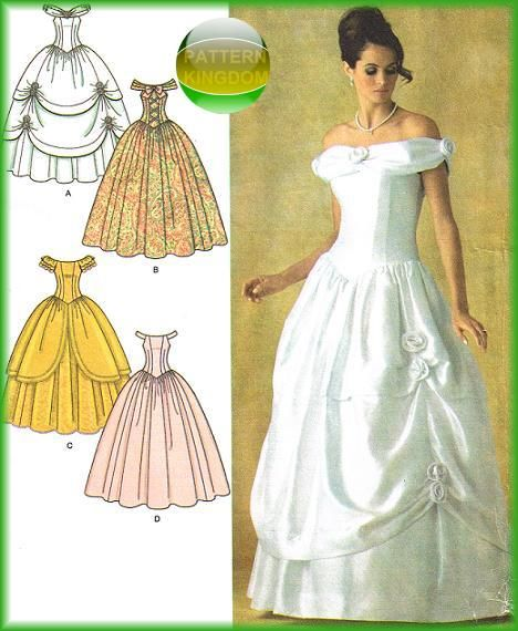 Wedding Gown Patterns With Sleeves: Simplicity 4269 Cinderella Fairy Tale Bridal/Wedding Gown