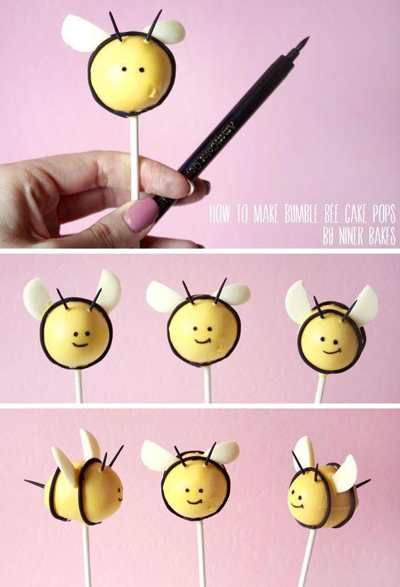 Tolle Oster Cake Pops Ideen für euren Oster Desserttisch: Niedliche Bienen & Blumentopf Cake Pops   niner bakes