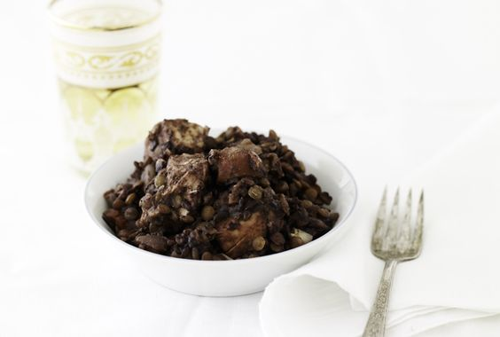 Slow Cooker Spiced Lentils with Black Rice and Chicken
