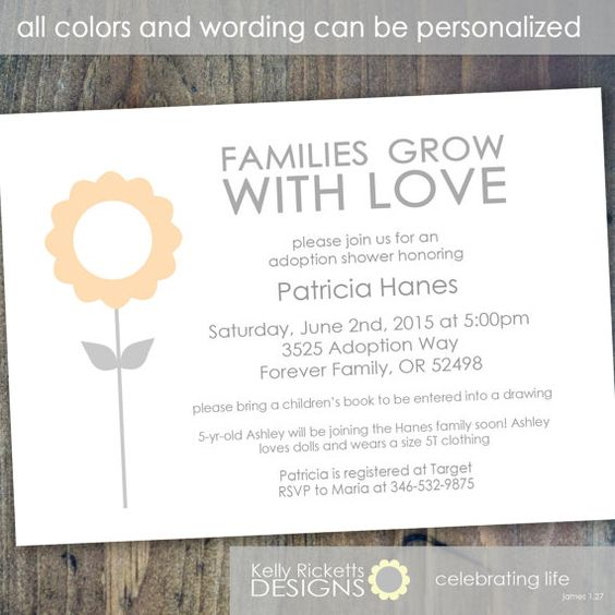 Family Baby Shower Invitations: Adoption Invitation For Babies, Toddlers Or Older Children