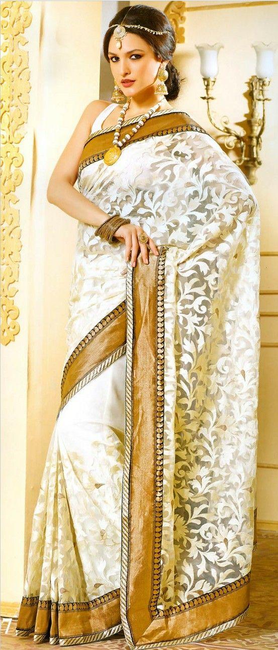 Light #Cream Net #Saree with #Blouse @ $112.43