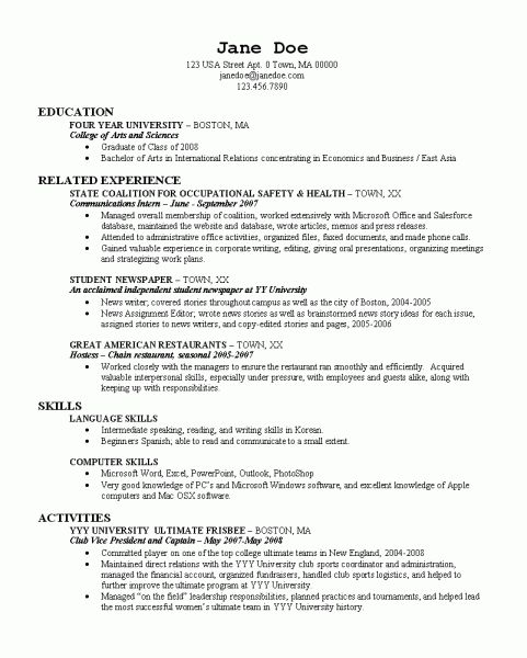 Resume Examples For Recent College Graduate Resume Examples Student Resume Template College Resume