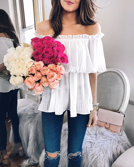 white ruffle off-the-shoulder top. LOVE