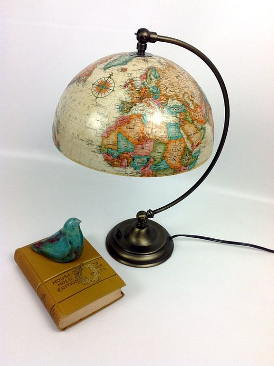 Vintage ivory globe upcycled into lamp with by LunchLadyVintage, $115.00