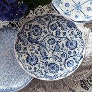 ♥ Dessertteller Blume PAULINE aus Keramik,weiß/blau ♥ im Landhausstil