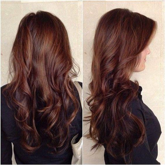 chocolate brown balayage hair with highlights