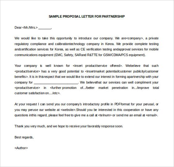 10+ Business Letter Of Intent Templates u2013 Free Sample, Example - partnership proposal letterss