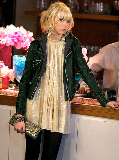 In Season 2, Jenny Humphrey (Taylor Momsen) added some edge to her sparkly top by wearing a leather jacket and studded bracelets.