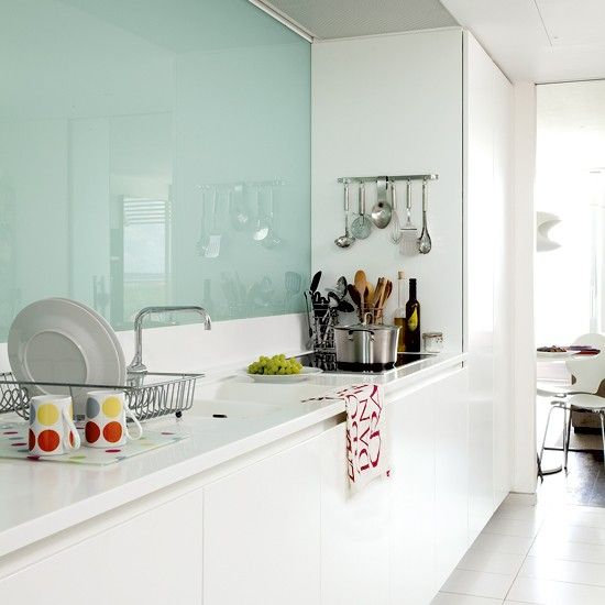 """I definitely would like a glass splash back in our house - so easy to keep clean! Maybe """"sea glass"""" colour?"""