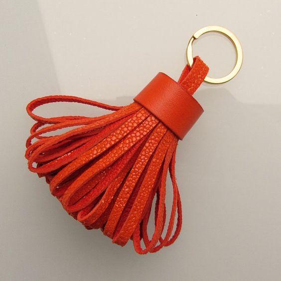 Tassel keychain / tassel keyring in deep orange embossed goatskin handmade by RinartsAtelier