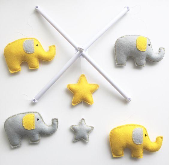 Elephant & Stars Musical Cot Mobile, Baby Mobile, Stars Nursery Mobile, Elephant Nursery, Nursery Decor, Baby Mobile, Musical Cot Mobile by xCrazyLittleCraftsx on Etsy https://www.etsy.com/uk/listing/465196893/elephant-stars-musical-cot-mobile-baby