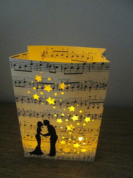 10 Wedding Luminaries, Wedding Shower Decor, Wedding Lanterns, Engagement Decor, Music Decorations, Wedding Decorations via Etsy: