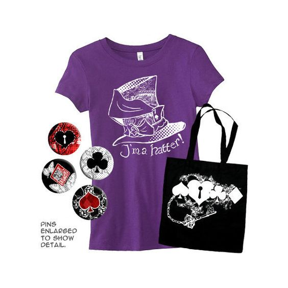 Wonderland Fantasy Gift Set (Fitted Style) T-Shirt Bag Pins Hatter... ($35) ❤ liked on Polyvore featuring tops, t-shirts, grey, women's clothing, fitted t shirts, tea party t shirts, pastel goth shirts, checked shirt and flat top