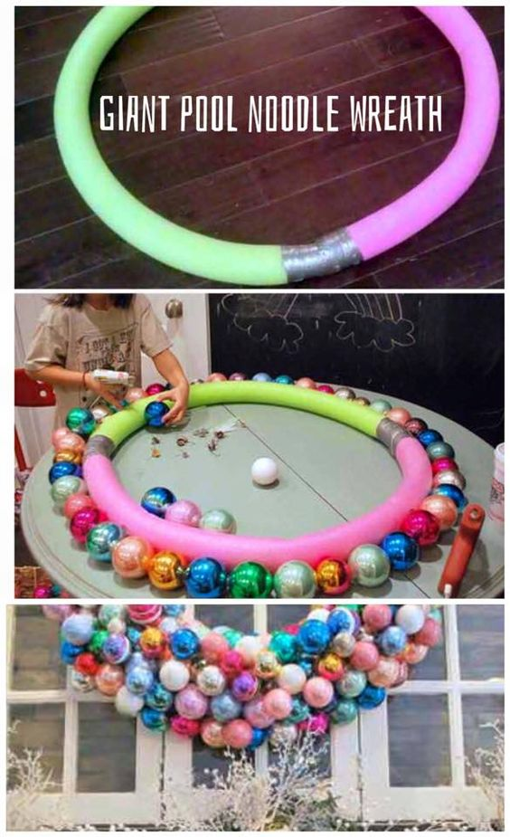 GIANT ornament wreath using pool noodles