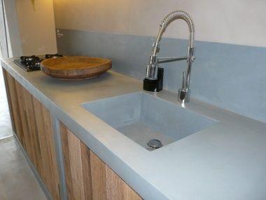 Linea e cocinas dise os con cemento pulido kitchen ref for Cocinas hechas de cemento
