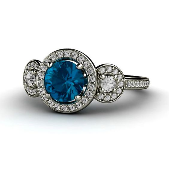 London Blue Topaz Engagement Ring 3 Stone Round Diamond Halo Blue Topaz Ring 14K Gold Custom Engagement Ring on Etsy, $1,030.00