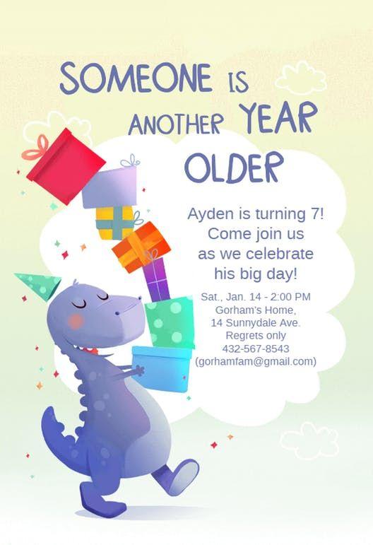 7th Birthday Dinosaur Birthday Invitation Template Free Greetings Island Birthday Invitations Kids Free Birthday Invitations Dinosaur Birthday Invitations