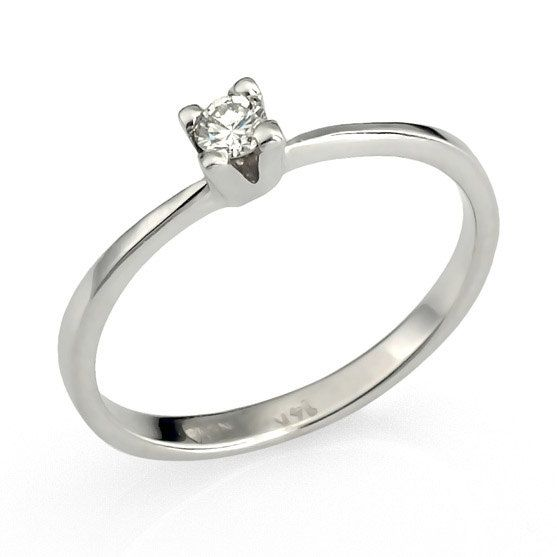 Art Deco Thin Diamond 14k White Gold Engagement Ring by netawolpe, $515.00