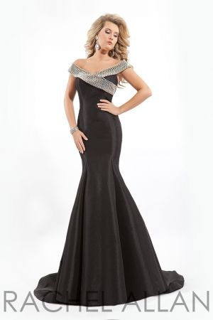 Off the should taffeta gown with a beaded neckline and an  open back