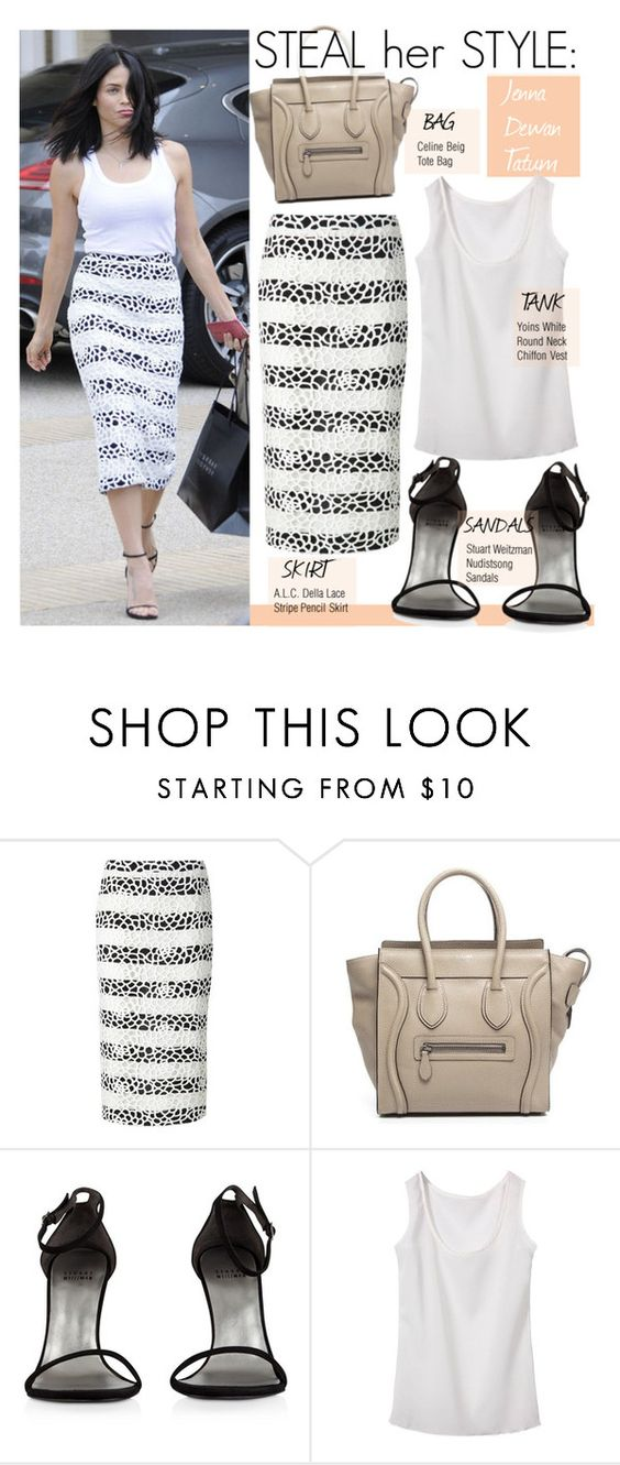 """""""Steal Her Style-Jenna Dewan Tatum"""" by kusja ❤ liked on Polyvore featuring A.L.C., Therapy, CÉLINE, Stuart Weitzman, Stealherstyle, celebstyle and jennadewantatum"""