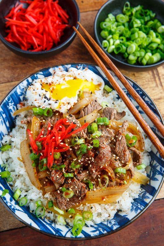 Gyudon Japanese Beef Rice Bowl Recipe Japanese Beef Rice Bowls Recipes Easy Japanese Recipes
