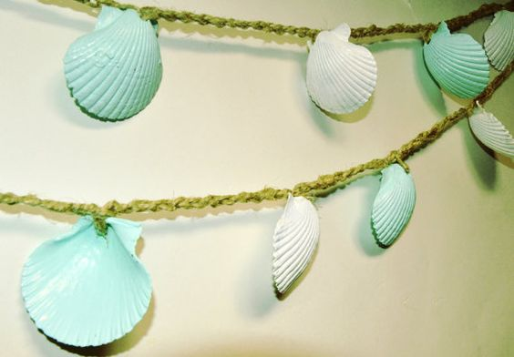 Guirlande de mariage de plage, coquillage Garland, Decor de douche de bébé, de menthe Green Sea Shell Bunting, Seashell Decor, Beach Wedding Decor: