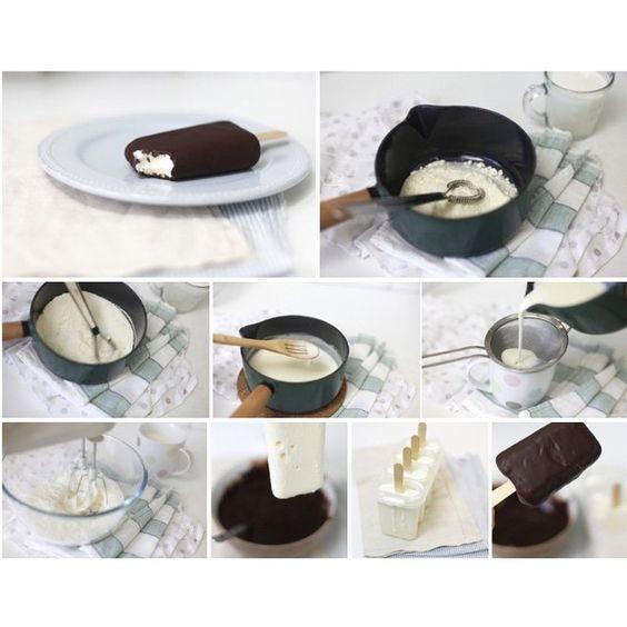 «Рецепт Эскимо от @povar_shef  Попробуем приготовить мороженое, которое москвичи покупали четверть века назад, обычный пломбир в стаканчике.  На 4 порции…»