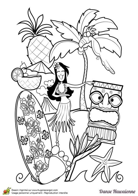 Une danseuse hawaïenne entrain de danser le Hula sur la plage près des cocotiers et d'un skateboard, à colorier