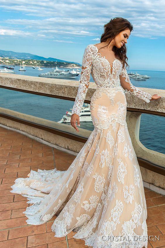 crystal design 2017 bridal long sleeves deep sweetheart neckline full embellished bodice ivory color elegant glamorous fit and flare mermaid wedding dress keyhole back chapel train (rian) mv: