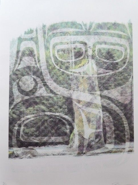 """Pillar Whale by John Bennett (Haida) Limited edition lithograph /20 32"""" x 25 1/2"""" Fazakas Gallery is a Vancouver Art Gallery with exciting works from Contemporary Artists from diverse backgrounds and cultures.  www.fazakasgallery.com"""