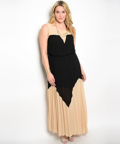 Black Biege Two Tone Maxi Dress