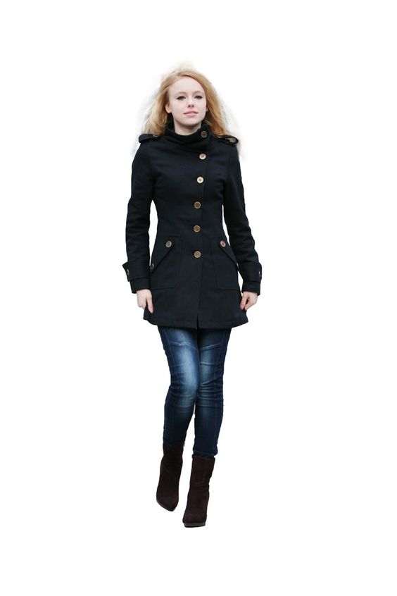 Black Coat Fitted Military Jacket Winter Wool by Sophiaclothing