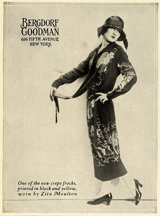 1924 Bergdorf Goodman ad for a crepe day dress.