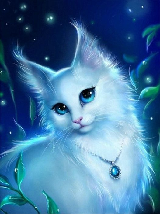 Diy Diamond Painting Cross Stitch Set White Cat Picture Round Diamond Embroidery Animal Handwork Picture Not Animal Drawings Anime Animals Cute Animal Drawings