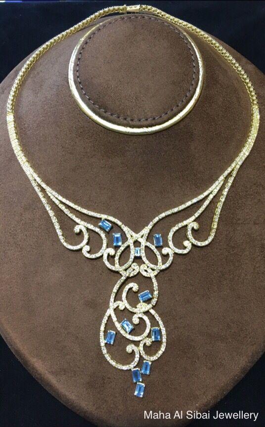 Distinguished piece Aqua marine and diamond necklace @ Maha Al Sibai Jewellery