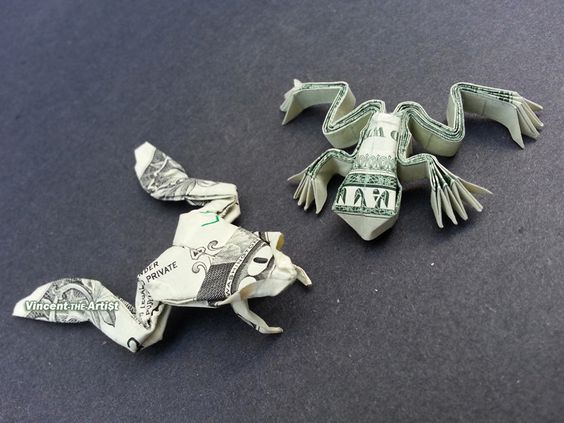 Money Origami Frogs - Dollar Bill Art: