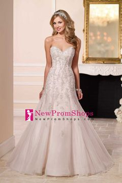 Wedding Apparel Sweetheart Sleeveless Court Train (30cm-50cm) Tulle Covered Button Back With Applique US$ 279.99 NPSPTSGYKBZ - NewPromShops.com for mobile