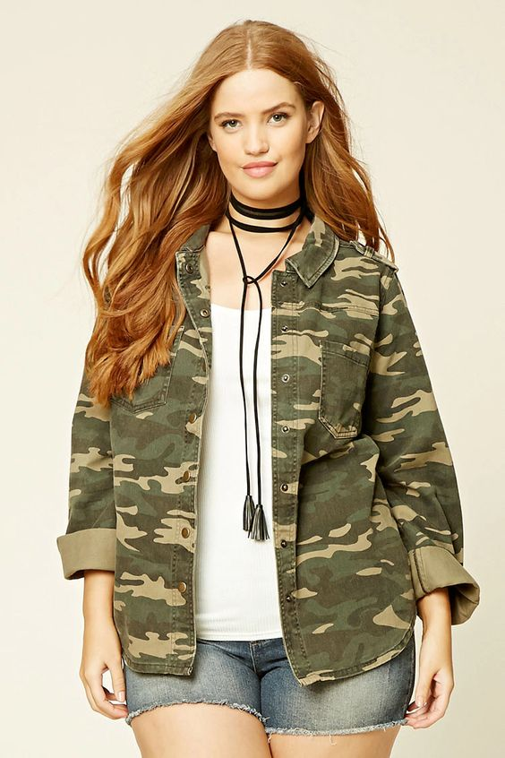 Forever 21+ - A woven cotton jacket with a camo print, a standard collar, a snap-buttoned front, chest patch pockets, long button-cuff sleeves, shoulder epaulets, and matte metallic accents.