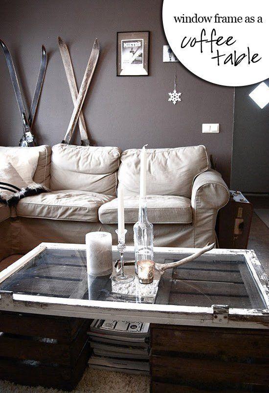 Coffee table DIY from repurposed window frame.