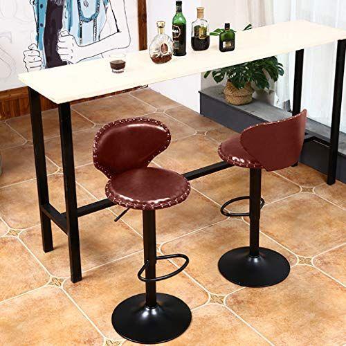 Nihai 2pcs Bar Stools Modern Leather Swivel Adjustable Barstools