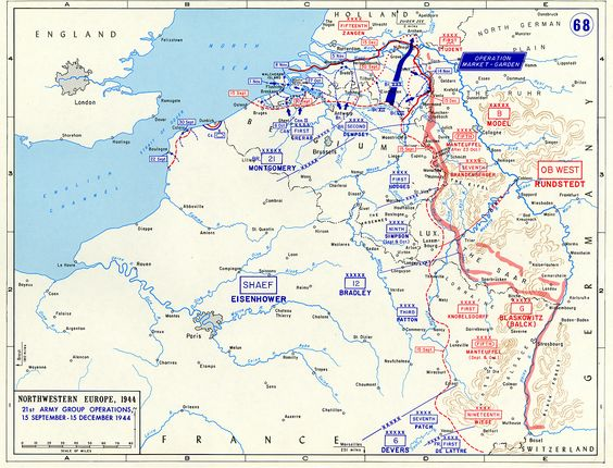 Map Map Noting The Front Lines Of The Western Front Of European - Europe map 1944