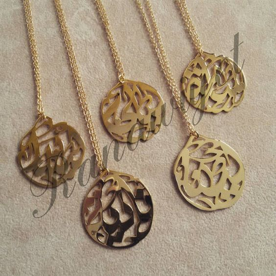 Pendants personalized jewelry and arabic calligraphy on Calligraphy jewelry