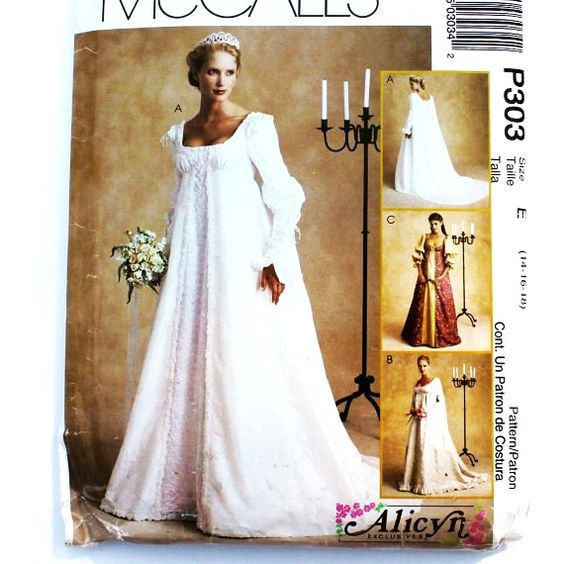 Renaissance bridal gown sewing pattern princess dress for Empire waist wedding dress patterns