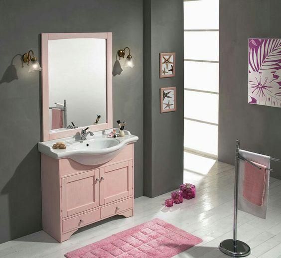 Rosa y gris Bagno rosa